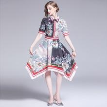Banulin 2019 New Fashion Runway Summer Asymmetry Dress Womens Short Sleeve Block Color Dot Floral Print Knee Length