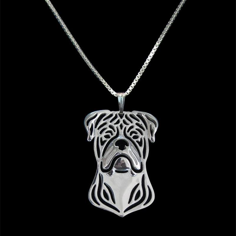 2018 Fashion Lovers American Bulldog Necklaces Women Metal Dog Pendant Necklaces Drop Shipping