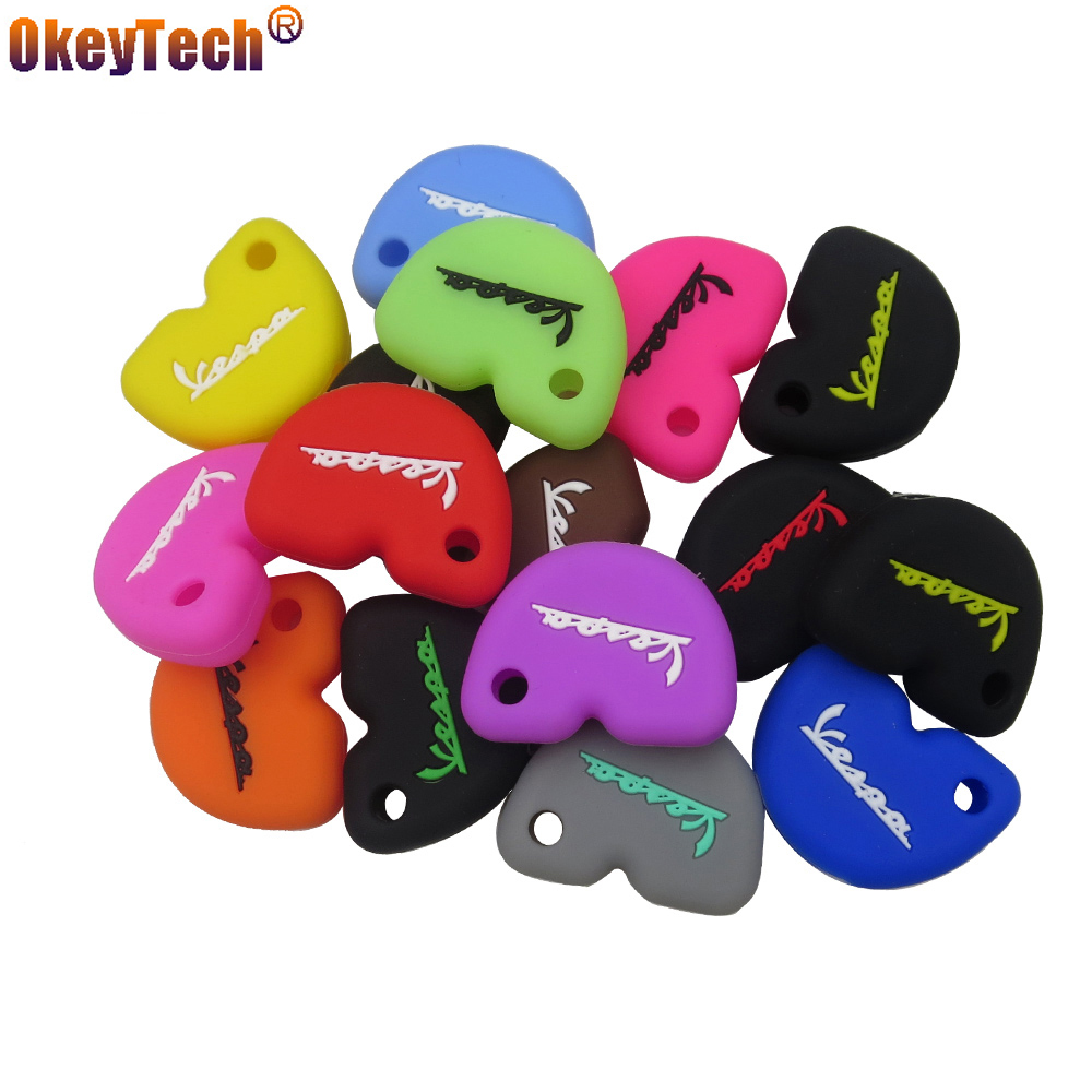 OkeyTech New Styling Silicone Rubber Key Case Cover For Vespa Enrico Piaggio GTS300 LX150 fly 125 3vte Gts 200 motorcycle key(China)