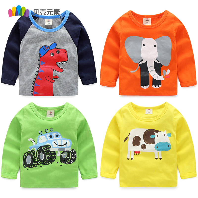 Boys Long Sleeve Tops 2018 New Autumn Clothing Baby Boy Sweatshirts Animal Pattern Children T shirts for Kids Boys Clothes