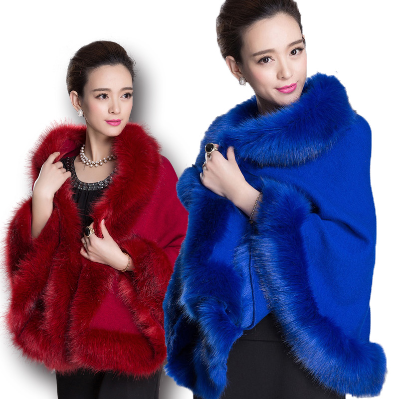 Fashion Autumn Winter Women Faux Fur Coat Leather Grass Fox Fur Collar Ponchos And Capes Lady Shawl Cape Wool Fur Coat in Faux Fur from Women 39 s Clothing