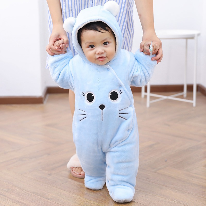 Winter Baby   Rompers   Cartoon Bear Newborn Baby Coral Fleece Brand Hoodies Jumpsuit Cotton Baby Girls Boys   Romper   Toddle Clothing
