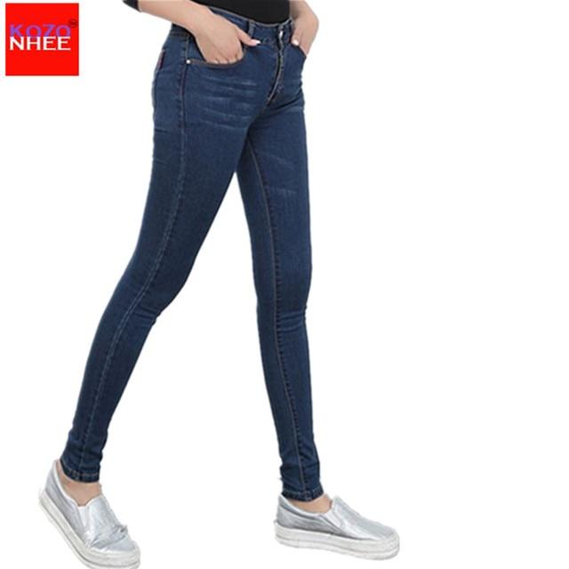 2017 Winter autumn fashion brand plus size jeans blue color casual brand denim pants woman pencil jean trousers XL-6XL big size