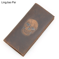 LingJiao Pai Long Design Skull Genuine Leather Men Wallet Handmade Cazy Horse Leather Vintage Card Wallets