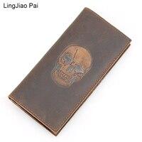 LingJiao Pai Long Design Skull Genuine Leather Men Wallet Handmade Cazy Horse Leather Vintage Card Wallets