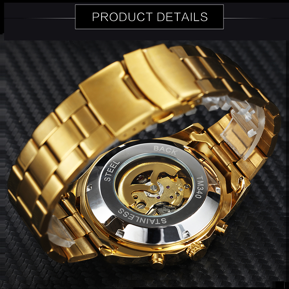 Image 4 - Winner Watch Men Skeleton Automatic Mechanical Watch Gold Skeleton Vintage Man Watch Mens FORSINING Watch Top Brand Luxury-in Mechanical Watches from Watches