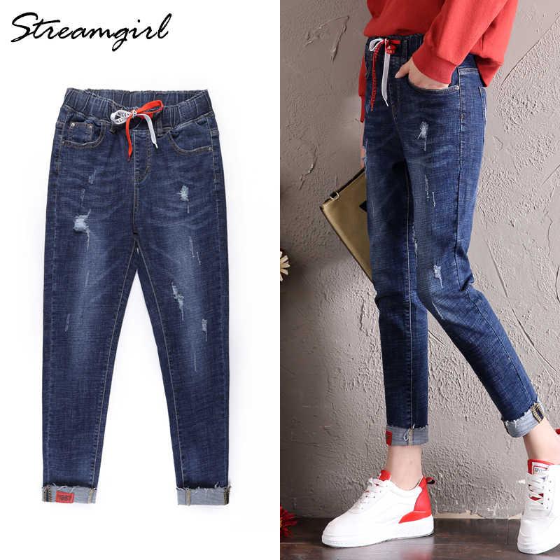 3acc93feed6 Укороченные черные рваные джинсы женские джинсы с высокой талией женские  джинсовые шаровары женские рваные джинсы для