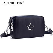 EASTNIGHTS genuine leather messenger bags women preppy girl casual flap bag female mini crossbody handbag