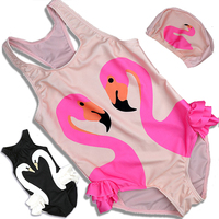 S 4XL Size Kids Baby Girl Swimwear With Hat 2017 Swan Flamingos Printed Swimsuits One Piece