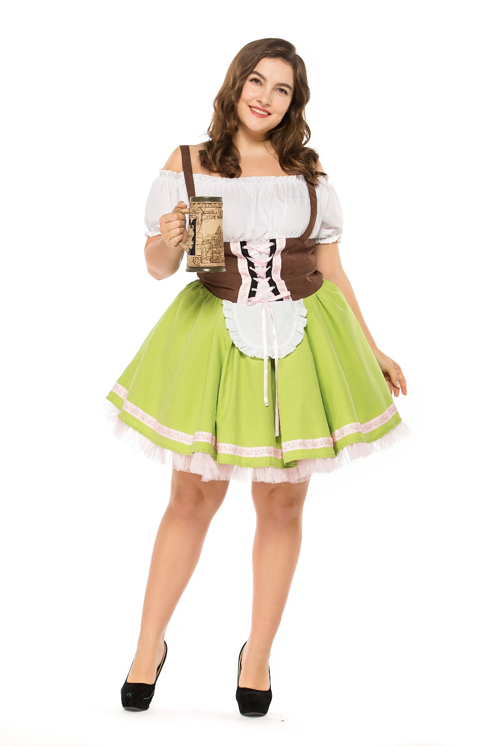 plus size Germany Bavaria Oktoberfest beer festival work clothes Costume Halloween Carnival Party Cosplay Fancy shore dress A005