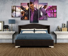 Framework 5 Piece Canvas Art GTA Game Poster Painting Wall Picture Home Decoration Living Room
