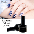 Saroline 1pcs UV lucky colors Gel Nail 3D Magnetic Cat Eye Without Black Base Soak Off cheap Gel Polish Glitter Varnishes