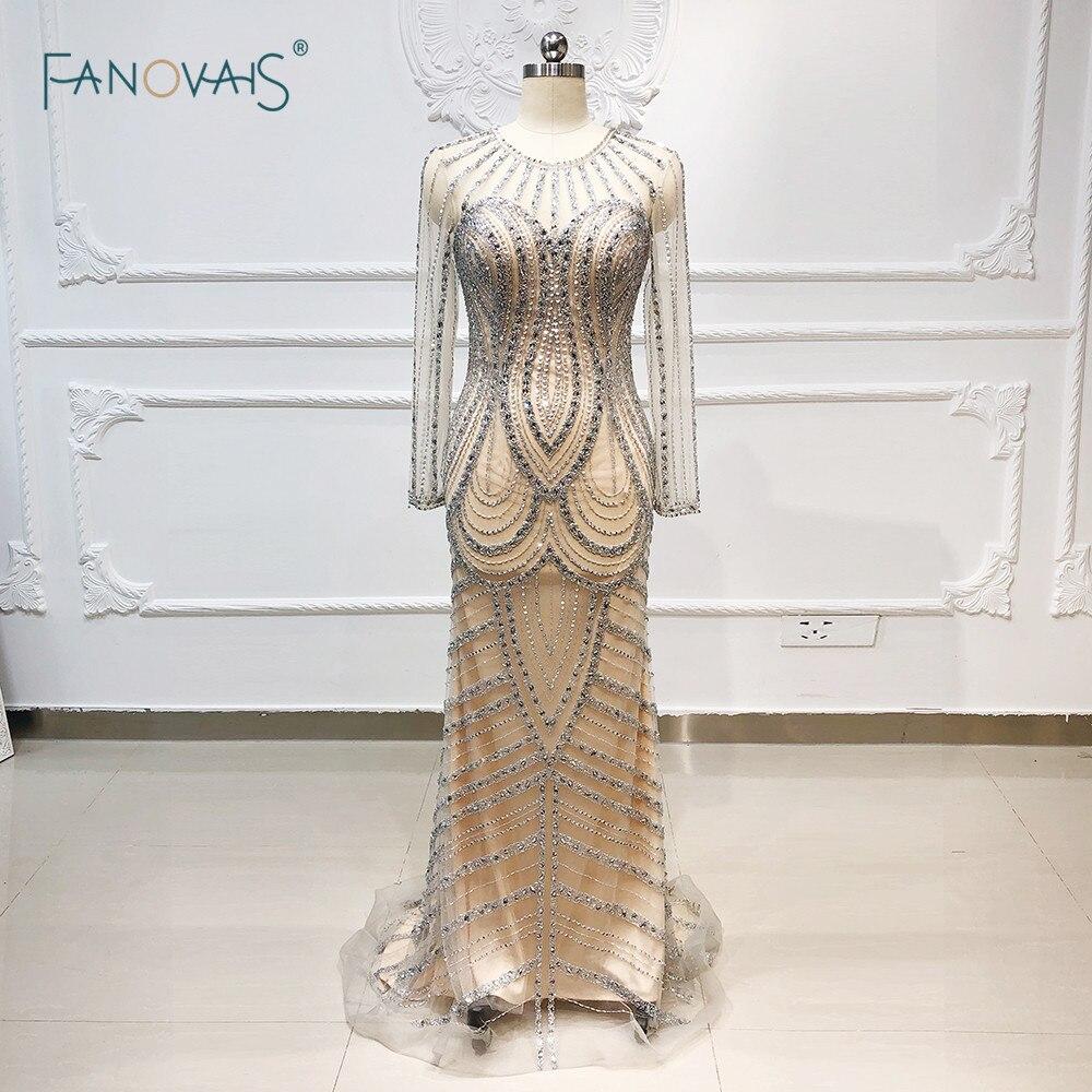 Luxury Prom Dress 2019 Scoop Mermaid Evening Dress Long Sleeve Tassel Full Beaded Tulle Formal Party