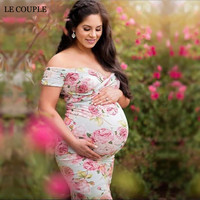 Le Couple Floral Print Maternity Photography Props Dresses Summer Pregnancy Clothes Maxi Dress Maternidade Fotografia Robe
