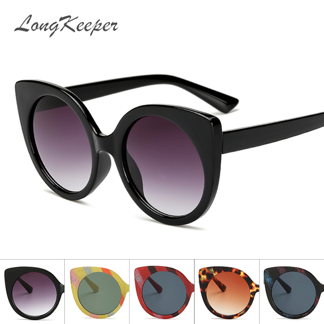 4ea4dbc66b464 LongKeeper Glitter Cat Eye Sunglasses Women Retro Streak Frame Sun Glasses  Ladies Vintage Brand Designer UV400