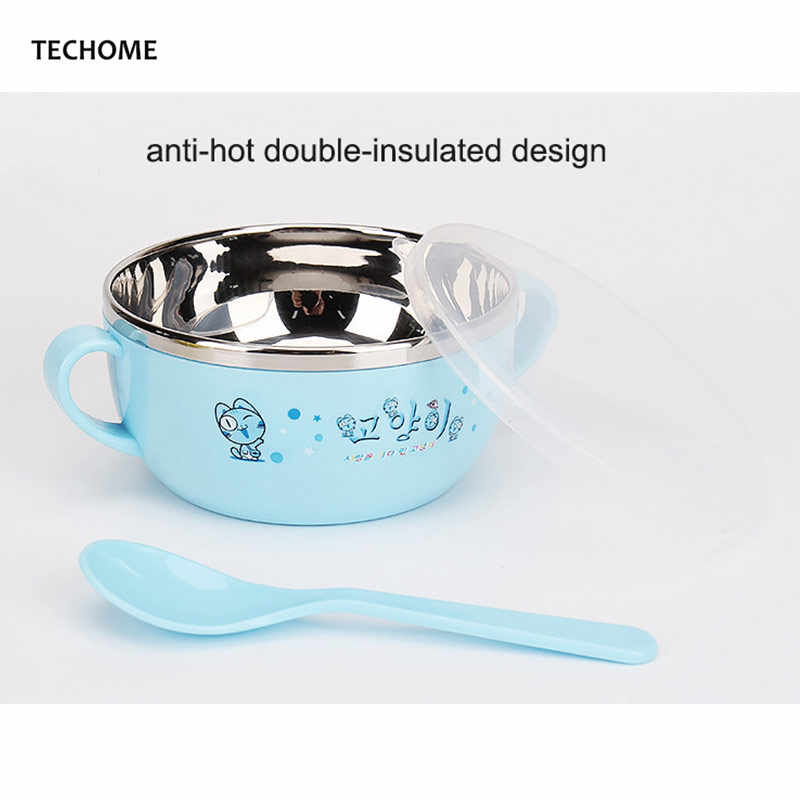 Bayi Beras Piring Set Stainless Steel Ganda Terisolasi Mangkuk PP Sendok Susu Bayi Mangkuk Anak Peralatan Makan Portabel Perempuan Laki-laki