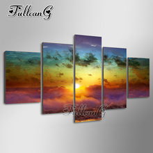 FULLCANG 5pcs diy diamond painting sunrise clouds full drill 3d cross stitch mosaic embroidery multi-picture decor gift G1203