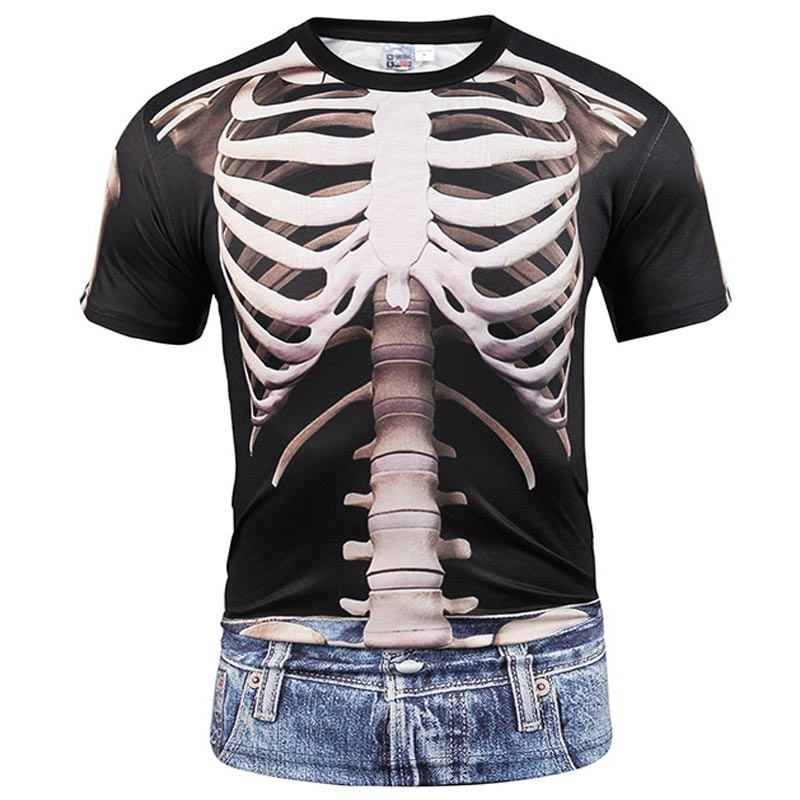 Hip Hop Skulls T-shirt Men/Women Summer Tops Tees Print Fake Two Pieces Jeans T-shirt Hip Hop T shirts Plus size S-5XL R1881