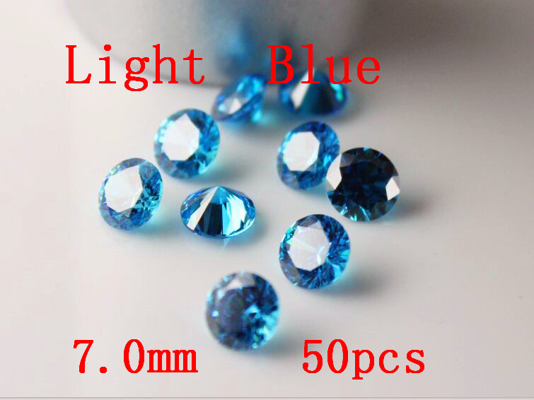 MRHUANG bijoux fournitures zircon cubique AAA bleu clair 7/8/9/10mm rond zircone bijoux à bricoler soi-même fournitures