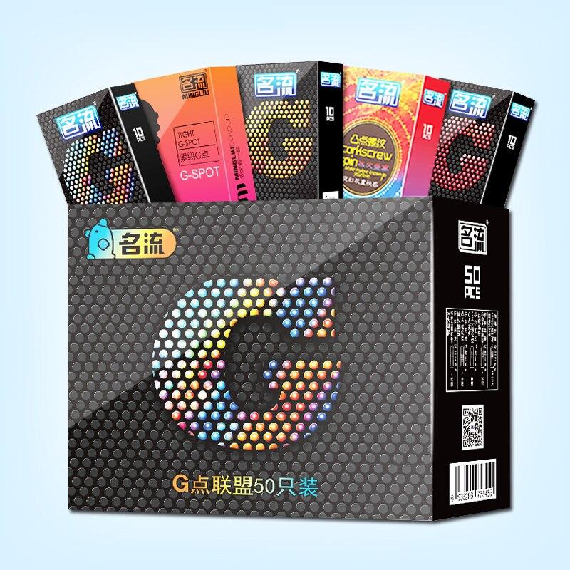 Preservativos MingLiu 50 pçs/lote G-Ponto Estimulação Produtos Sexo Ultra-Fino de Látex Preservativos Manga Pênis Para Os Homens Mais Seguro contracepção