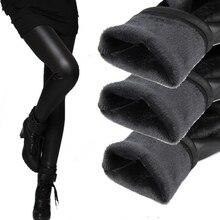women's pants winter warm pants tights  elastic bottom leather trousers plus 2-layer women black thick pants & capris
