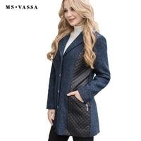 MS VASSA אביב מעיל 2017 סתיו חדש נשים גבירותיי מעיל מעיל דמוי עור בתוספת גודל 5XL 7XL אופטי צמר חם הלבשה עליונה