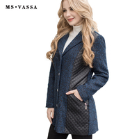 MS VASSA Phụ Nữ coat 2017 New Mùa Thu Mùa Xuân nữ áo khoác faux leather coat cộng với kích thước 5XL 7XL len quang ấm áo khoác ngoài