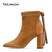 2019 Round Toe Brown Sock Boots for Women Block High Heel Black Stretch Faux Suede Ankle Boots Ladies Chunky Shoes Wholesale