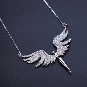 Image 2 - Newranos Angel Wing Charm Necklace Micro Paved Cubic Zirconias Pendant Necklace Champagne Gold Color for Women Jewelry NFX001402