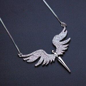 Image 2 - Newranos collier à pendentif aile dange pour femmes, en zircon cubique, pavé, couleur Champagne or, bijoux, NFX001402