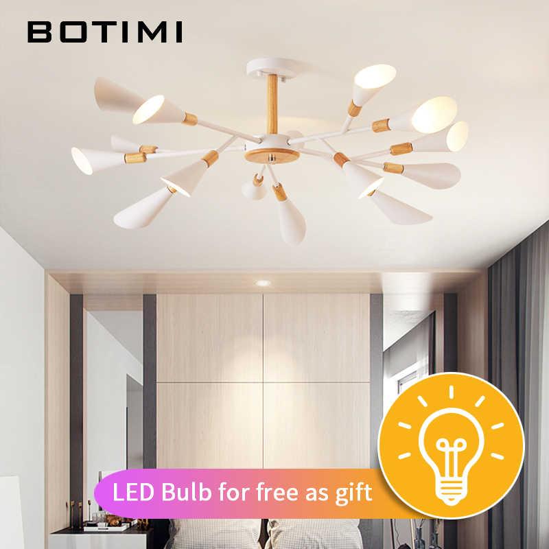 Botimi Desainer Lampu Gantung untuk Ruang Tamu Modern Putih Kilau Kamar Tidur Kayu Pencahayaan Nordic Permukaan Dipasang Lampu Gantung