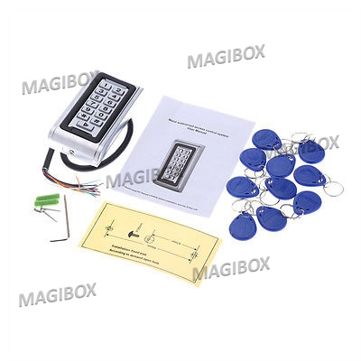 125KHz Metal RFID Waterproof Access Control ID Card Reader Keypad with 10pcs Key Fob good quality metal case face waterproof rfid card access controller with keypad 2000 users door access control reader