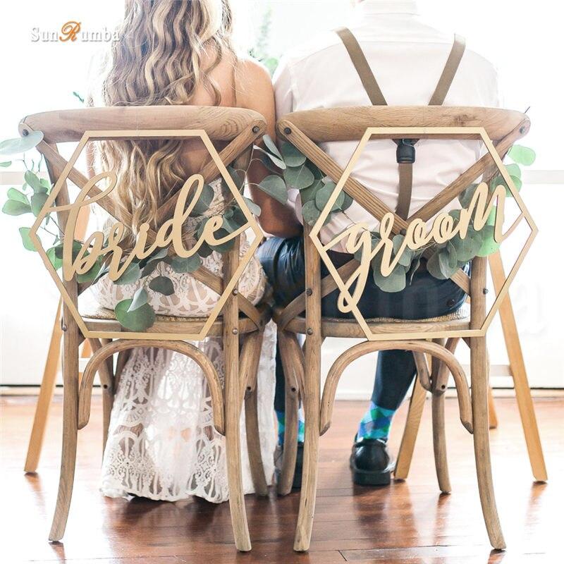 2pcs/set Bride Groom Rustic Wedding Sign Decor Ideas For