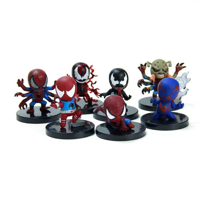 7pcs/<font><b>set</b></font> <font><b>Spider</b></font> <font><b>Man</b></font> Peter 7Style <font><b>The</b></font> Dark Knight <font><b>Marvel</b></font> Batman New <font><b>Avengers</b></font> Super Hero PVC 6cm Predators Figures <font><b>Spiderman</b></font>
