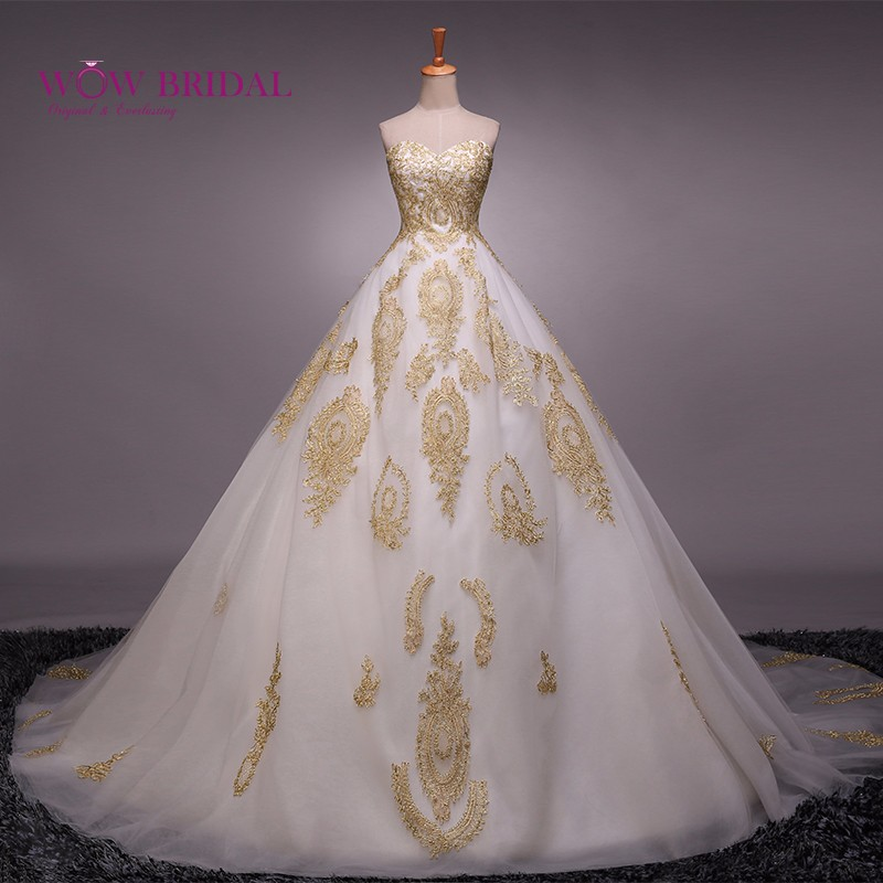 Wowbridal wedding dress embroidery gold with white