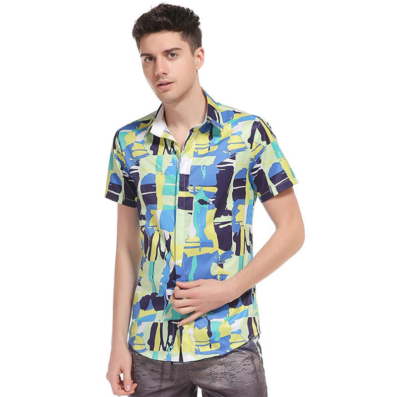 a8aab2a8e39 Men Hawaiian Shirt Beach Vacation Shirts Hawaii Party Male Summer Holiday  Splice Printing Fancy Casual Tops Hot Sale XS L 1113-in Casual Shirts from  Men s ...