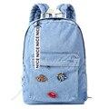 2017 novas Mulheres da moda mochila saco denim sacos de escola mochilas para meninas adolescentes calças de brim de lona saco sacos laptop mochila feminina