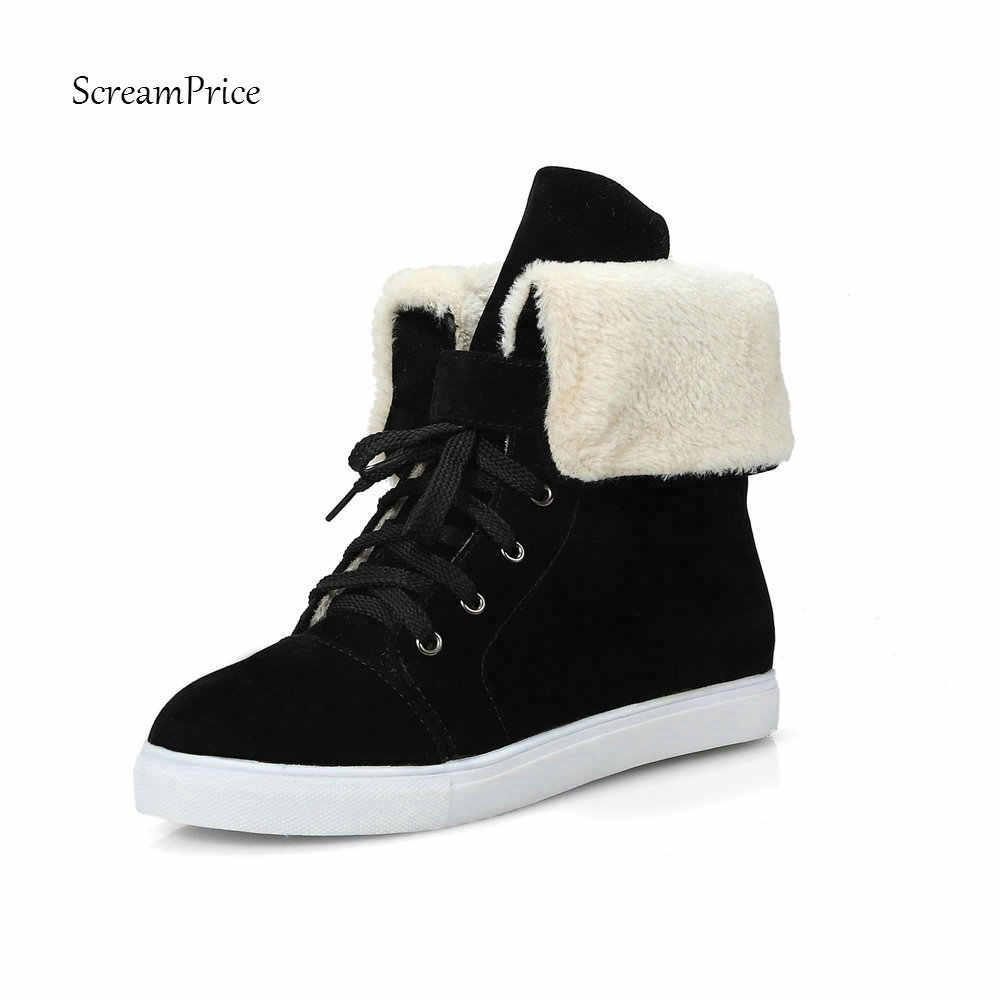 Kadın Kar Botları Kış sıcak Peluş Düz Topuk yarım çizmeler Yuvarlak Ayak Lace Up Bayanlar Artı Boyutu Ayakkabı 2018 Yeni Siyah bej Kahverengi