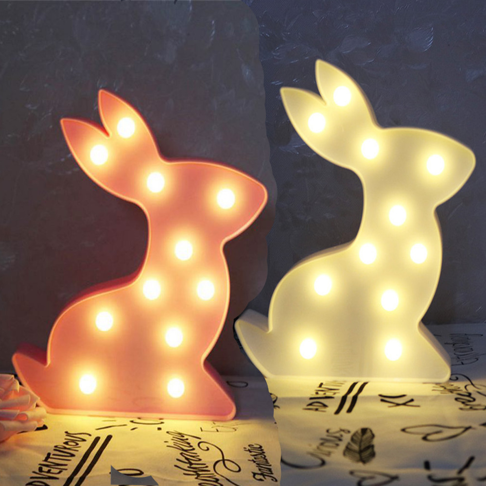 Kid Gifts Lovely Rabbit Luminaria LED Night Light Bedside Lamp Letter Wall Decorative White Pink Color 2018 New Warm Lighting