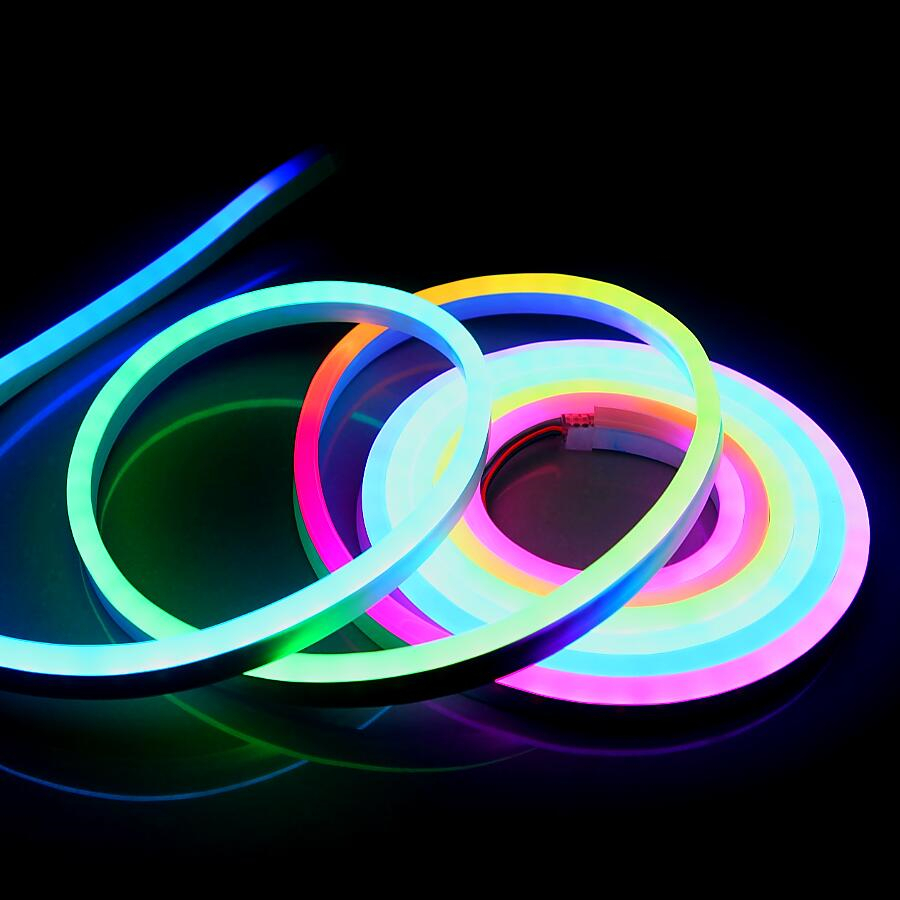 Us 351 12 Off 20m Waterproof Ip68 Flexible Led Neon Light Dc12v Ws2811 Ic Flex Strip 60leds M 5050 Smd Full Changeable Colors In