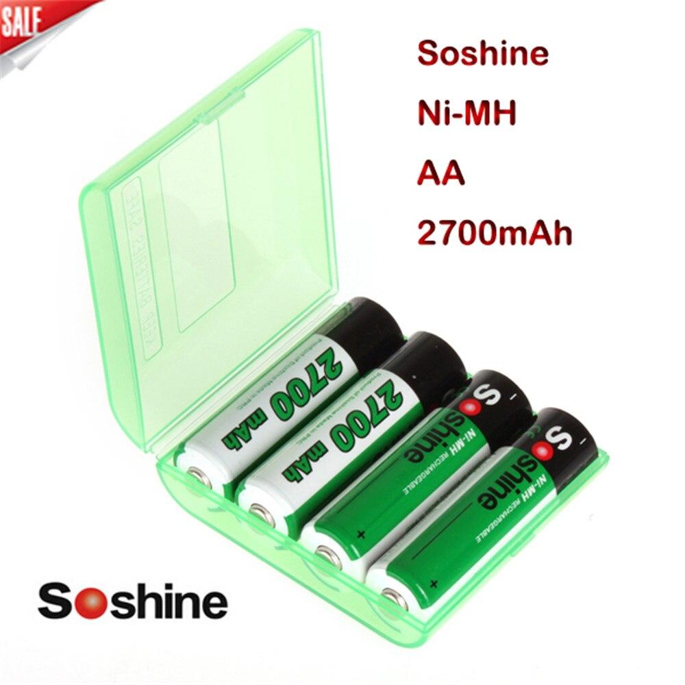 все цены на  New High Quality 4pcs/Pack Soshine Ni-MH AA 2700mAh Rechargeable Batteries Batterie Batterij Bateria +Portable Battery Box  онлайн