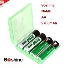 Новый высокое качество 4 шт./упак. Soshine Ni-MH AA 2700 мАч Аккумуляторы Аккумулятор Batterij Bateria + Портативный Батарея коробка