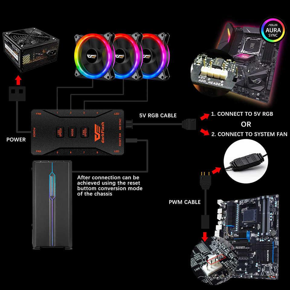 Dark flash dr12-pro 3 P-5 فولت هالة مزامنة الكمبيوتر الكمبيوتر مروحة التبريد RGB ضبط 120 مللي متر هادئة IR وحدة تبريد الكمبيوتر عن بعد مروحة