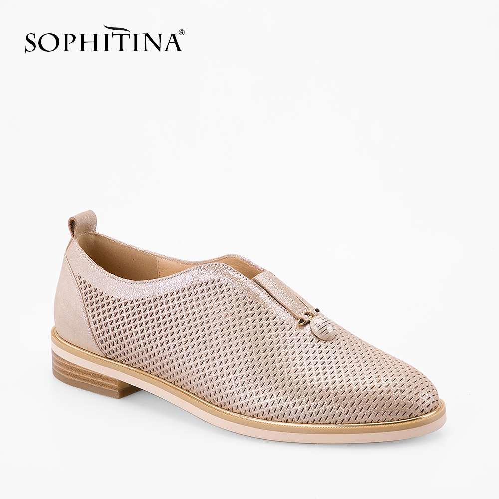 SOPHITINA Mesh Leather Women flats Handmade Slip-on Shoe Golden Round Toe Genuine Leather Flat Leisure Soft Office Lady Shoe p70 roxy women s lido iii b slip on shoe flat