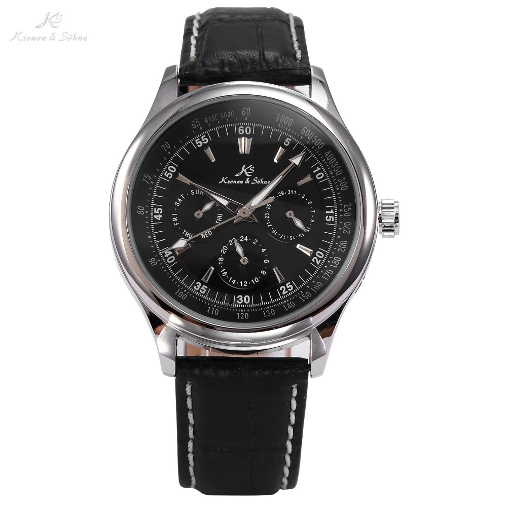 Classic Ks Luxury Genuine Leather Strap Automatic Mechanical Calendar Wrap Gift Wrist Mens Dress Business Self Wind Watch/ KS097 ks ks097