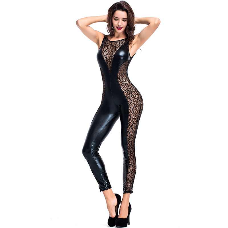 Woman Sexy Mesh Patent Leather Jumpsuit Black Tank Neck Perspective Jumpsuit Halloween Cosplay Costumes Carnival Disguisement