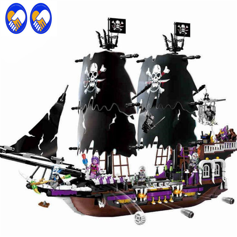 A Toy A Dream ENLIGHTEN 1313 NEW 1535Pcs Pirates of the Caribbean Black general ship large Christmas Gift Building Blocks toy 1513pcs pirates of the caribbean black pearl general dark ship 1313 model building blocks children boy toys compatible with lego