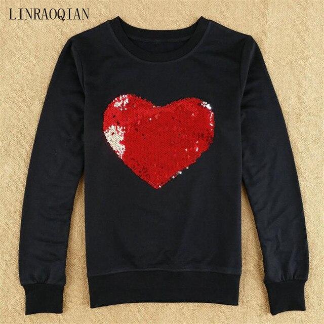LINRAOQIAN Harajuku Shirt Women Tops Red Heart Sequin Top Tshirt Female  Autumn Long Sleeve O-Neck T Shirt Women Camiseta Mujer 716b73f696b7