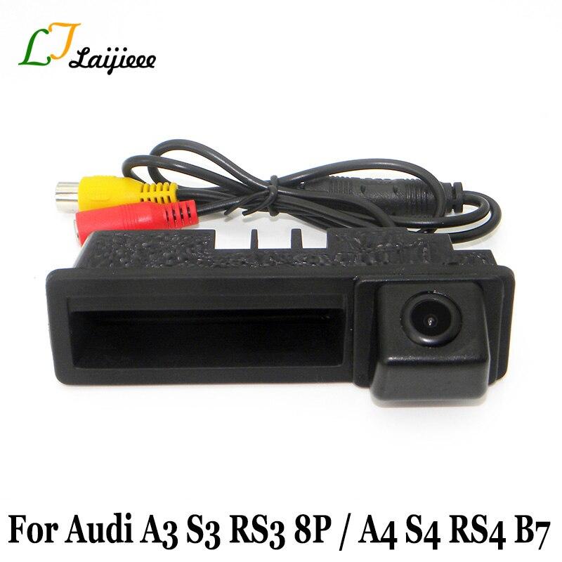 Автомобильная парковочная камера для Audi A3 S3 RS3 8P 2003 ~ 2013, Автомобильная камера заднего вида с ручкой багажника для Audi A4 S4 RS4 B6 B7 2001 ~ 2008