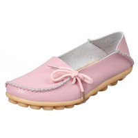 New Women Full Grain Leather Shoes Loafers Soft Leisure Slip On Flats Female Casual Shoes Comfy